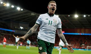 James McClean celebrates after scoring the goal that took Republic of Ireland into the play-offs.