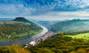 The Elbe, viewed from the Bastei rock formation.