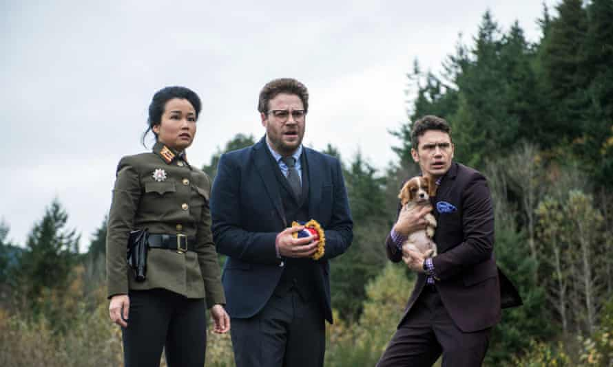 Diana Bang, Seth Rogen and James Franco in The Interview, which prompted the hacker group Guardians of Peace to attack Sony, the company that produced it.
