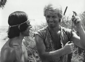 Salvation … Fabian Cevallos as Friday and Robert Hoffmann in The Adventures of Robinson Crusoe.