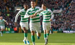 Mohamed Elyounoussi celebrates scoring Celtic's opening goal against Ross County.
