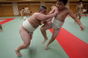 Kumagai trains six days a week, either at his local sumo club or lifting weights. He also swims and practices track and field to build up the flexibility and explosive quickness needed for sumo wrestling.