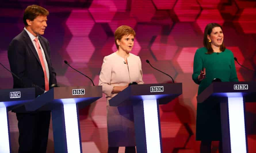 Brexit party chairman Richard Tice, SNP leader Nicola Sturgeon and Lib Dem leader Jo Swinson during the BBC seven-way election debate in Cardiff.