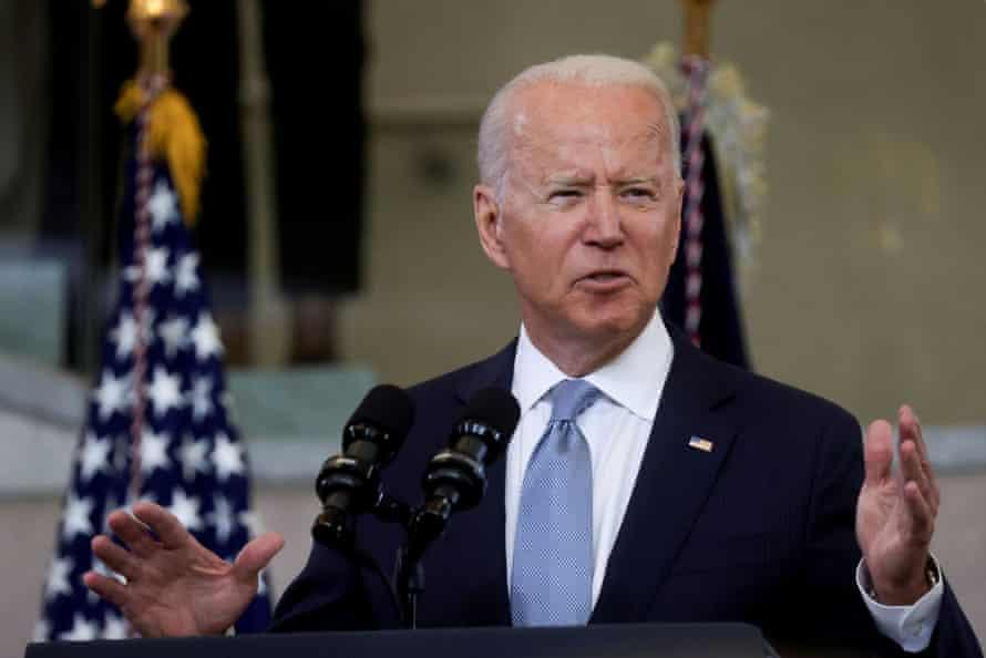 US President Joe Biden makes remarks in a speech at the National Constitution Center in Philadelphia, Pennsylvania, US, on July 13, 2021.