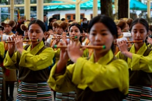 McLeod Ganj, India. A band performs during an event marking the 61st Tibetan Uprising Day