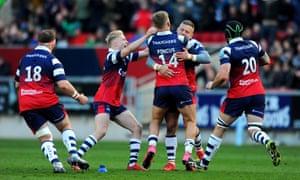 Bristol celebrate their 23-21 victory over Saracens in April.