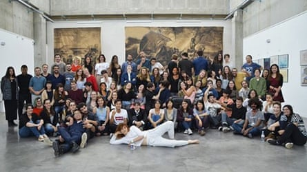 A manipulated photo of French art school students at a gallery