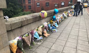Floral tributes left on a bridge in Radcliffe, Greater Manchester