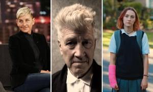 Three way composite of Ellen DeGeneres, David Lynch, Saoirse Ronan.