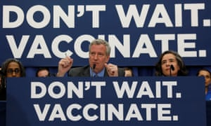 Mayor Bill de Blasio speaks during a news conference on 9 April declaring a public health emergency in parts of Brooklyn in response to a measles outbreak.