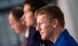 Tim Peake attends a news conference during his first public appearance after returning to Earth.