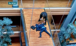 Steven Woolfe lies collapsed on a walkway following the 'Strasbourg altercation' with Ukip colleague Mike Hookem.