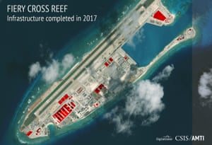 This image by CSIS Asia Maritime Transparency Initiative/DigitalGlobe shows a satellite image of Fiery Cross Reef, annotated to show areas where China has conducted construction work above ground during 2017.