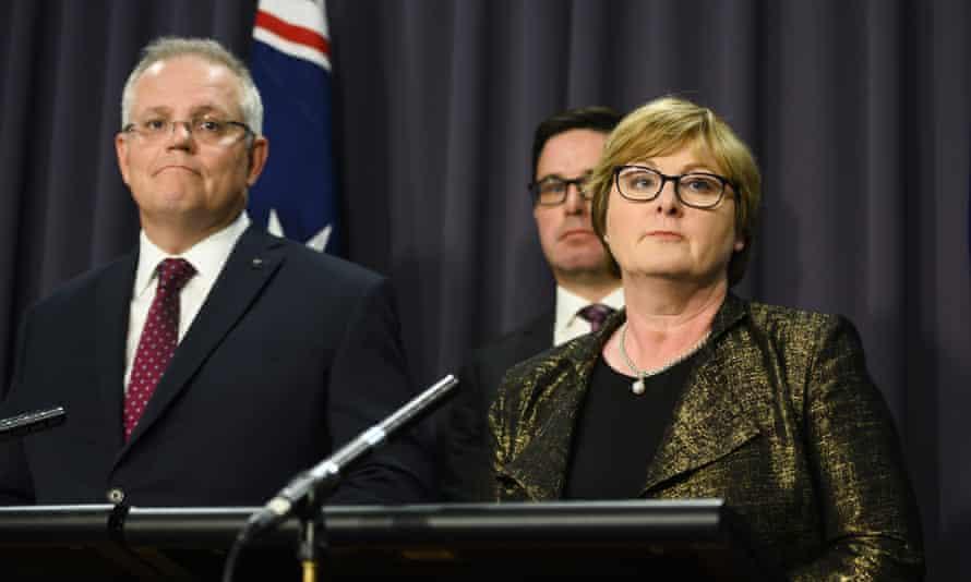 Defence minister Linda Reynolds speaks alongside prime minister Scott Morrison (left) and emergency services minister David Littleproud