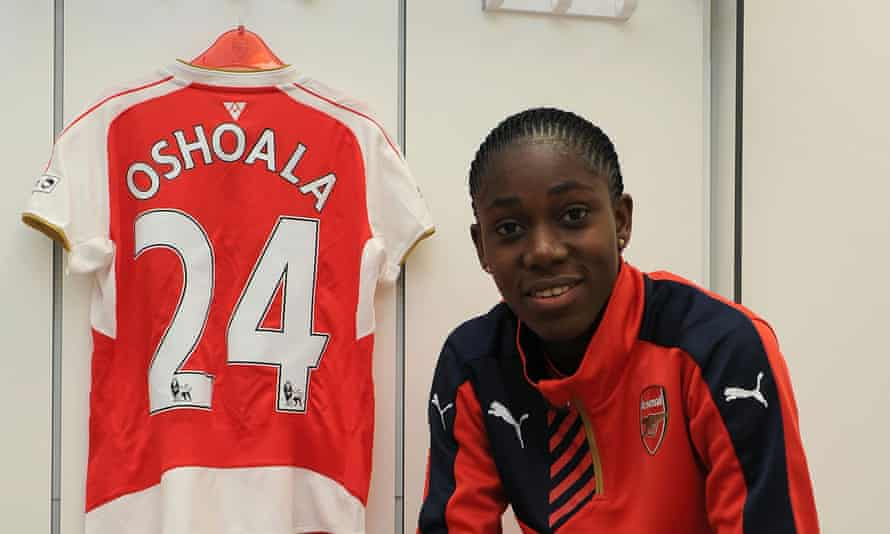 Asisat Oshoala pictured after signing for Arsenal in 2016.