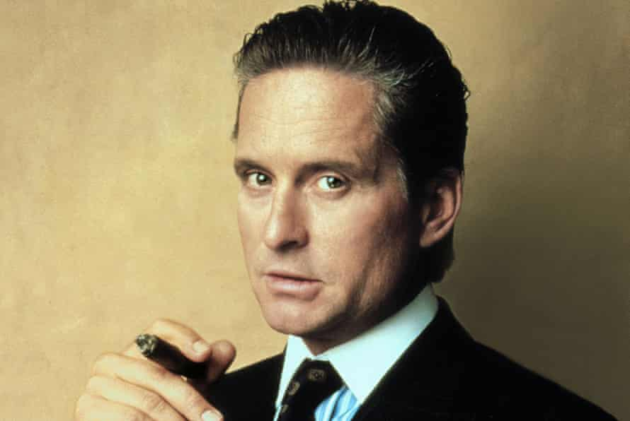 Michael Douglas as Gordon Gekko in the 1987 film Wall Street, directed by Oliver Stone.