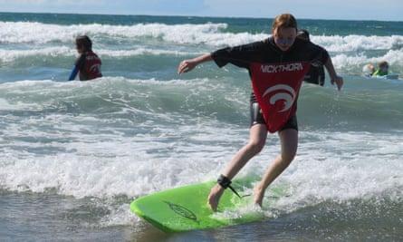 Surfing on the north Devon coast.