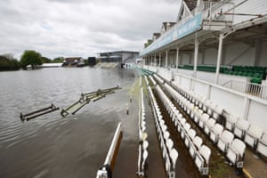 Worcestershire county cricket club's ground under floodwater
