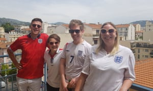 Grant with Emelia, Giles and Lauren before England v Scotland in Nice.