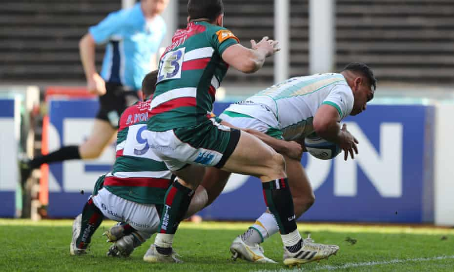Northampton's Sam Matavesi powers over for his side's third, ultimately decisive try at Leicester.