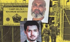 saifullah paracha (top) and uzair paracha (bottom) against pic of US camp at Guantanamo Bay