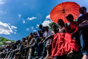 Students protest in Harare.