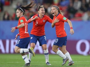 Yanara Aedo and Rocio Soto of Chile celebrate their side's first goal.