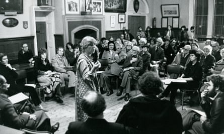 Ann Jellicoe addresses a community play public meeting in Bridport, Dorset, 1981.