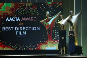 Rachel Griffiths and Gillian Armstrong present the Aacta award for best direction (film).
