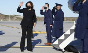 Vice President Kamala Harris boards Air Force Two in Los Angeles earlier today.