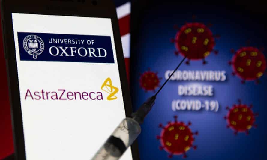 oxford/astrazeneca logo behind a syringe