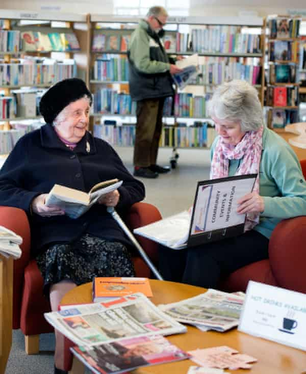 Ninety-year-old Mary Buck with daughter Janet at Highworth library.