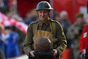 A football that was played with by troops before the battle of the Somme in world war one, is displayed during the pre-game Remembrace Day activities ahead of the match between Stoke City and Leicester City at the Bet365 Stadium.