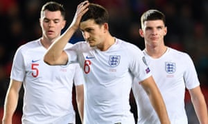 Michael Keane, Harry Maguire and Declan Rice, left to right, all endured a difficult evening in the defeat by Czech Republic in Prague.