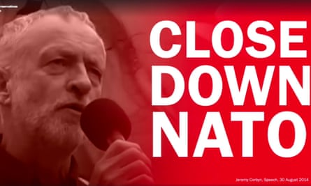 Screengrab from a video released by the Conservative party of Jeremy Corbyn giving a speech 30 August 2014.