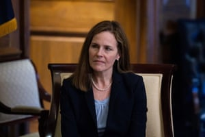 Amy Coney Barrett on Capitol Hill in Washington DC, on 30 September.