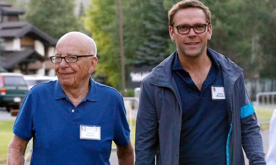 Rupert Murdoch with his son James.
