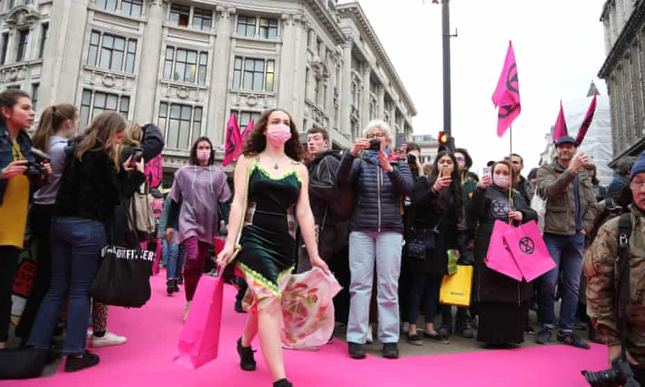 Extinction Rebellion's 'catwalk' demonstration at Oxford Circus last April.