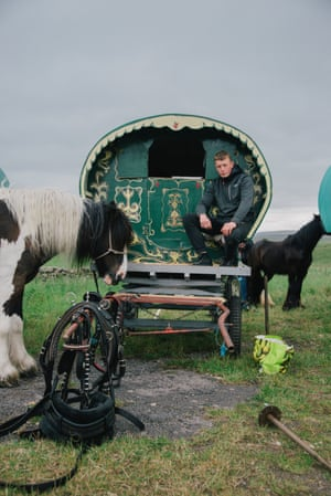 Near the A65, Skipton, North Yorkshire, by Juliet Klottrup'I came across Paddy and his family while I was on a walk,' says Klottrup. 'They were parked up on the side of the road with their impressive bow-top, horse-drawn wagons. It was the beginning of summer and they were on their way to Appleby Fair in Cumbria. Ahead of them was a week of travelling to get to the fair.'