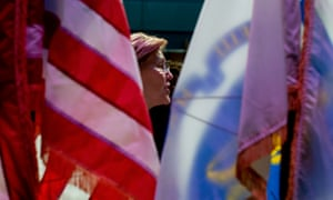 Senator Elizabeth Warren holds a town hall forum in Woburn, Massachusetts.