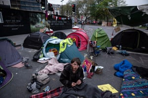 Protesters at Marble Arch wake up early on Tuesday morning
