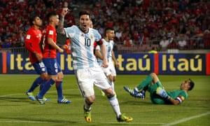 Argentina's Lionel Messi celebrates after Gabriel Mercado's goal.