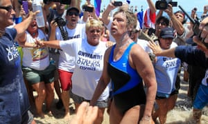 Long-distance swimmer Diana Nyad completes her swim from Cuba to Florida in 2013.