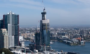 An aerial view of yet-be-completed Crown Sydney Casino at Barangaroo
