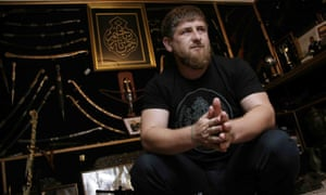 Ramzan Kadyrov shows his extensive collection of weapons in his office in Chechnya.