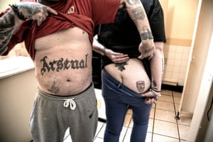 Arsenal supporters in a toilet, north London, 2016