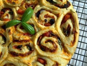 Chelsea buns with a savoury pizza filling: perfect for picnics.