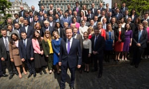 David Cameron poses for a photo with the newly elected Conservative Party MPs in Palace Yard on May 11, 2015 in London, England.
