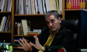 Tsakalotos in his office in the finance ministry in Athens.