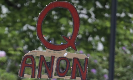 A QAnon sign at a protest rally in the US